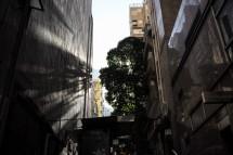 Baumschatten zwischen Hochhäusern, Tung Street (2014)
