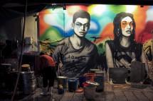 Der Imbissstand unter den Graffiti in der Gough Street macht Feierabend (2014)